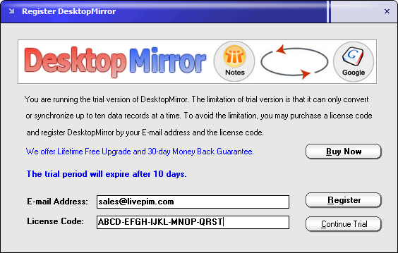 Register DesktopMirror for Lotus Notes and Google